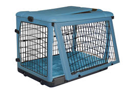 "Pet Gear The Other Door 27"" Ocean Blue Steel Crate with Plush Pad"