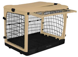 """Pet Gear The Other Door 27"""" Tan Steel Crate with Plush Pad"""