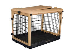 """Pet Gear The Other Door Steel 36"""" Tan Crate with Plush Pad"""