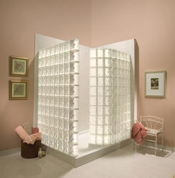 White Glass Block Walk-In Shower w/Acrylic Base (IceScapes® Pattern Block)