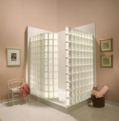 Biscuit Glass Block Walk-In Shower Acrylic Base (DECORA® Pattern Block)