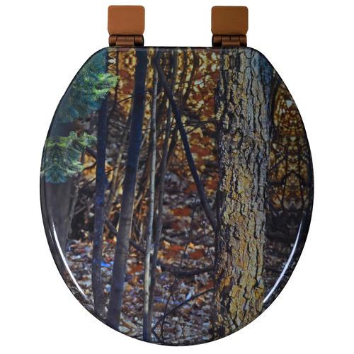 tuscany camouflage molded round wood toilet seat with