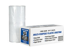 "Polar Plastics 3-Mil Clear Poly All-Purpose Plastic Sheeting - 8' 4"" x 100' Roll"