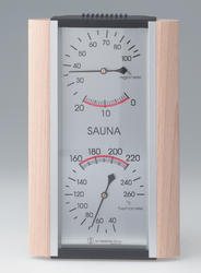 Thermometer-Hygrometer wood, metallic