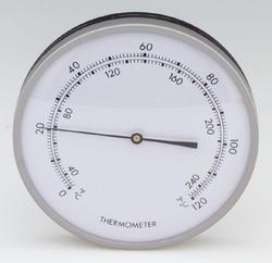 "5"" round chrome thermometer"