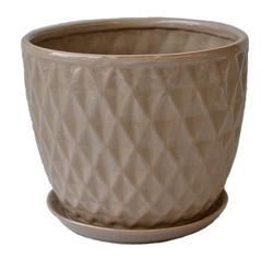 """12.5"""" Tan Ceramic Pot with Saucer"""