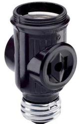 Legrand Black Lampholder to Lampholder/Outlet Adapter
