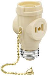 Legrand Black Lampholder to Lampholder/Outlet Adapter