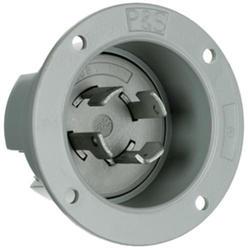 Legrand Turnlok® Gray 30-Amp 3-Phase Y 120/208-Volt Locking Flanged Inlet