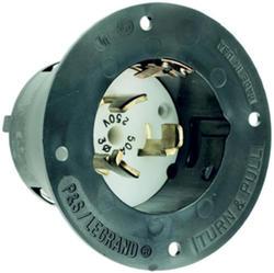 Legrand Turnlok® Black 50-Amp 3-Phase 480-Volt Locking Flanged Inlet