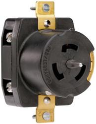 Legrand Turnlok® Black 50-Amp 3-Phase 250-Volt Locking Outlet