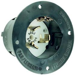 Legrand Turnlok® Black 50-Amp 3-Phase 250-Volt Locking Flanged Inlet
