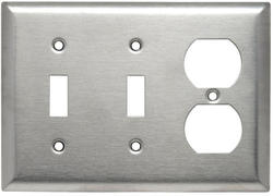 Legrand 302 Stainless Steel 2-Toggle Switch 1-Duplex Outlet Wall Plate