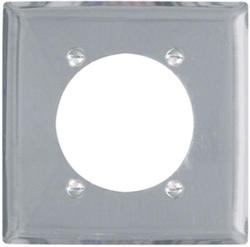 "Legrand Pass & Seymour Chrome Power Outlet Wall Plate with 2.4688"" Hole for 2.375"" Diameter"