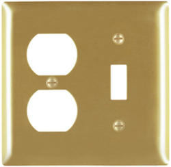 Legrand Pass & Seymour Smooth Brass 1-Toggle Switch, 1-Duplex Outlet Wall Plate