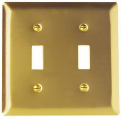 Legrand Pass & Seymour Smooth Brass 2-Toggle Switch Wall Plate