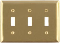 Legrand Pass & Seymour Smooth Brass 3-Toggle Switch Wall Plate