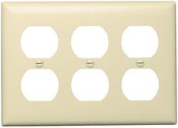 Legrand Pass & Seymour Plastic 3-Duplex Outlet Wall Plate