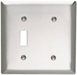 Legrand 302 Stainless Steel 1-Toggle Switch 1-Blank Strap-Mounted Wall Plate
