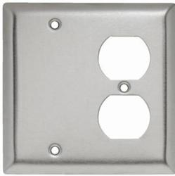 Legrand 302 Stainless Steel 1-Blank Box-Mounted 1-Duplex Outlet Wall Plate
