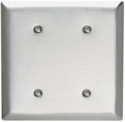 Legrand 302 Stainless Steel 2-Blank Strap-Mounted Wall Plate