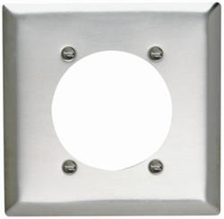 """Legrand 302 Stainless Steel Power Outlet Wall Plate for 2.4688"""" Hole for 2.375"""" Diameter"""