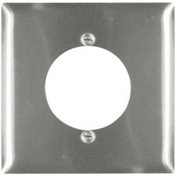 "Legrand 302 Stainless Steel Power Outlet Wall Plate 2.1563"" Hole for 2.125"" Diameter"