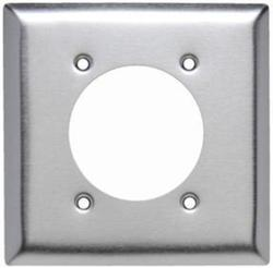 "Legrand 302 Stainless Steel Power Outlet Wall Plate with 2.2813"" Hole for 2.125"" Diameter"