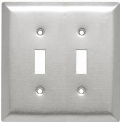 Legrand Jr Jumbo 302 Stainless Steel 2-Toggle Switch Wall Plate