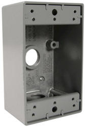 "Legrand 18.5 cu in. Gray 1-Gang Box with (3) 1/2"" Holes"