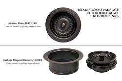 Oil-Rubbed Bronze Drain Combination Package for Double Bowl Kitchen Sinks