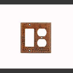 Copper Combination Switchplate 2-Hole Outlet and Ground Fault/Rocker GFI Cover