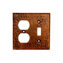 Copper Combination Switchplate 2-Hole Outlet and Single Toggle Switch