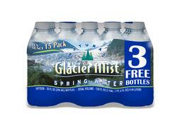 Glacier Mist Natural Spring Bottled Water - 10 Ounce 15-pk
