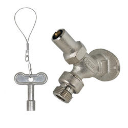"""PRIER Loose Key Angle Sill Faucet, Anti-Siphon, 1/2"""" FPT, Satin Nickel Plated"""