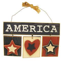 "12"" Wood America Wall Plaque"