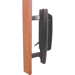 """Prime-Line 3-15/16"""" Black Diecast Mortise Style Handle Set with Wood Pull"""