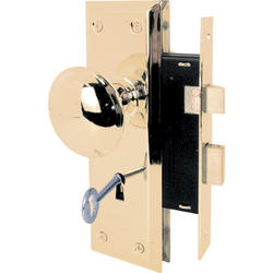 Prime-Line Polished Brass Finish Keyed Mortise Lock Set with Brass Handles