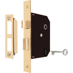 """Prime-Line 4-3/4"""" Brass-Plated Mortise Lock Assembly"""