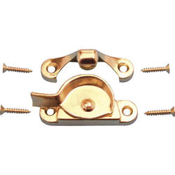 "Prime-Line 1-15/16"" Brass-Plated Diecast Sash Lock and Keeper"
