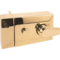 Prime-Line Brass Plated Diecast Keyed Night Latch