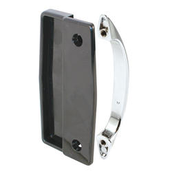 "Prime-Line 4"" Black Plastic Sliding Screen Door Pull with Chrome Handle"