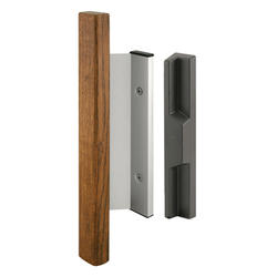 "Prime-Line 3-15/16"" Aluminum Sliding Door Handle Set with Wood Pull"