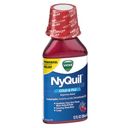 Vicks NyQuil Cherry Cold & Flu Nighttime Relief Liquid - 12 oz