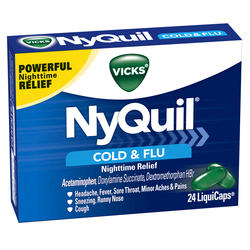Vicks NyQuil Cold & Flu Nighttime Relief LiquiCaps - 24-ct
