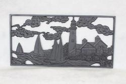 "14"" x 28"" Sailboat Cast Iron Panel"