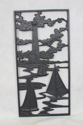 "14""W x 28""H Sailboat Cast Iron Panel"