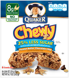 Quaker Chewy Peanut Butter Chocolate Chip Granola Bars with 25% Less Sugar - 8-pk