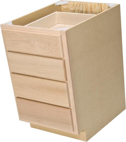 "Unfinished Kitchen Island Cabinets: Quality One™ 18"" X 34-1/2"" Unfinished Oak 4-Drawer Base"