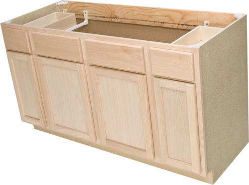 Quality one 60 x 34 1 2 unfinished oak sink base for Basic kitchen base units
